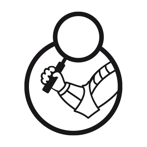Dibujo de brazo con armadura y lupa de The Game of Prague